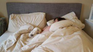 Barbara sleeping next to her human to keep healthy